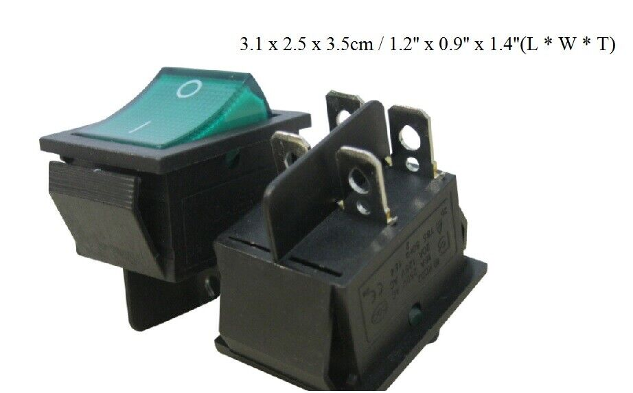 Red Wire Ac 250v 16a 125a 20a Dpst On Off 4 Pin Boat Rocker Switch