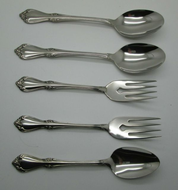 Sss Oneida Stainless 5 Pieces Flatware Celebrity Pattern Spoons Forks Freeship
