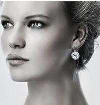 Round Bella Earrings Clear Genuine Swarovski Crystal