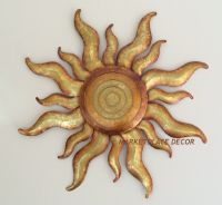 Golden Sun Celestial Wall Art Metal Gold Sunburst Garden