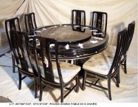 Oriental round dining room set furniture Black lacquer ...
