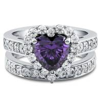 Silver Heart Shaped Simulated Amethyst CZ Halo Engagement ...