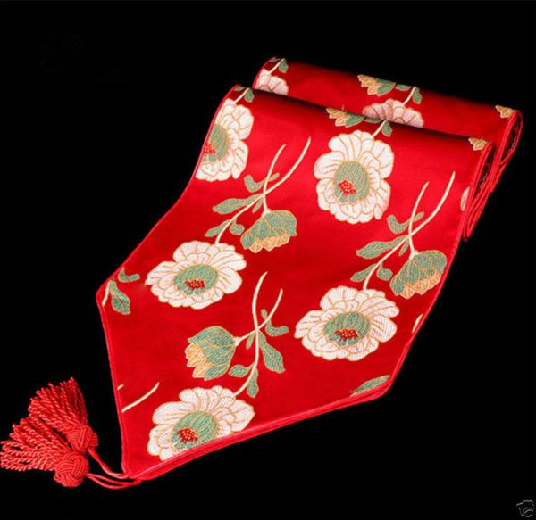 Brand Chinese Handmade Classic Red Silk Flower Table