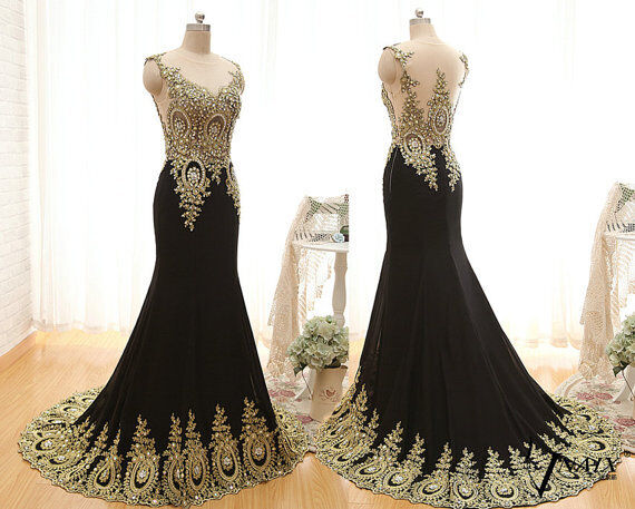 New Long Chiffon Mermaid Crystal Gold Lace Prom Dresses