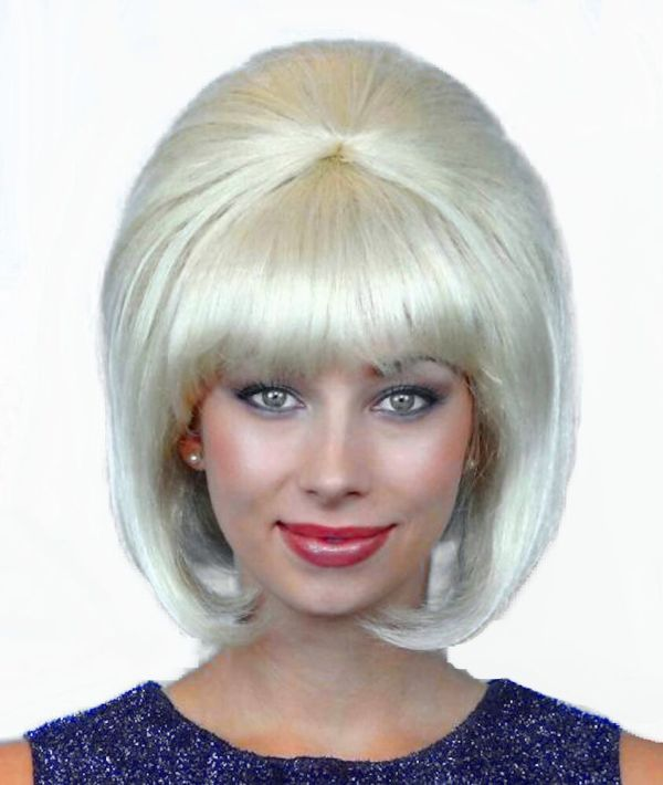 60' Beehive Hairspray Blonde Wig Women' Fancy Dress