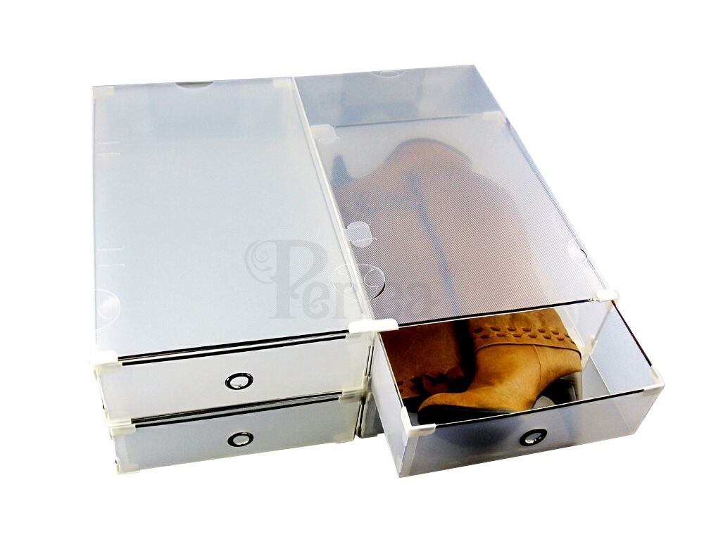 Periea PACK OF 4 Plastic Shoe/Boot Storage Drawers, STRONG