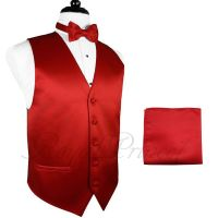 FIRE RED Tuxedo Suit Vest Waistcoat and BUTTERFLY Bow tie