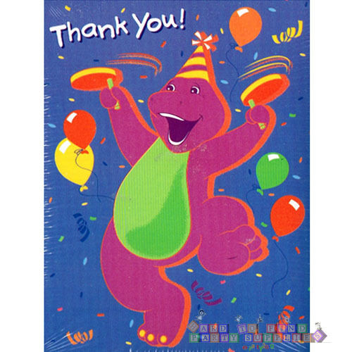 BARNEY THANK YOU NOTES 8 Vintage Birthday Party