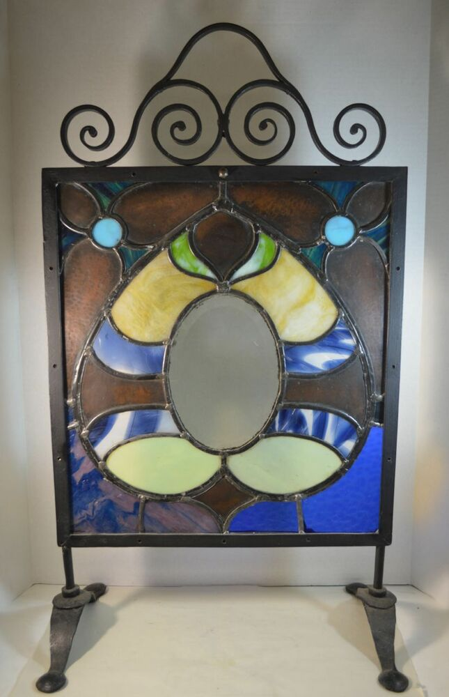 Arts And Crafts Stained Glass And Wrought Iron Fire Screen EBay