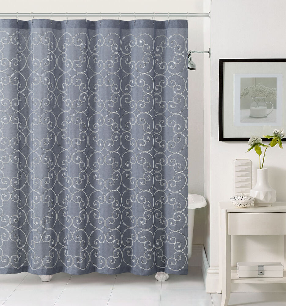 Slate Gray Fabric Shower Curtain with White Embroidered Swirl Circle Design  eBay