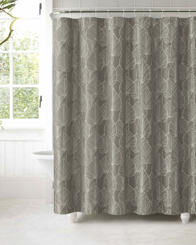 Gray Jacquard Fabric Shower Curtain Silver Textured Leaf Design  eBay