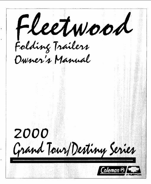 COLEMAN Popup Trailer Owners Manual 2000 Destiny Taos