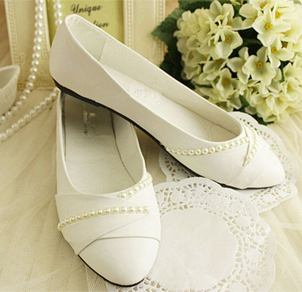 Ivory White Pearls Flat Ballet Wedding Shoes Bridal Pumps