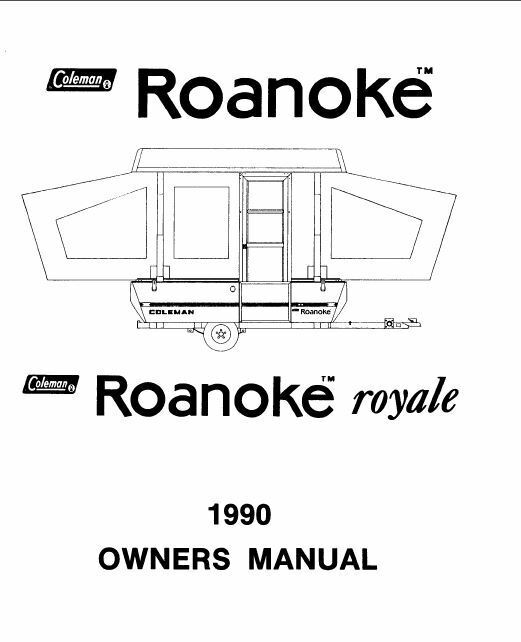 COLEMAN Popup Trailer Owner Manual-1990 Destiny Roanoke