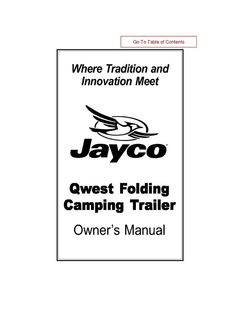 Jayco Fold-Down Pop-Up Tent Trailer Owners Manual- 2002
