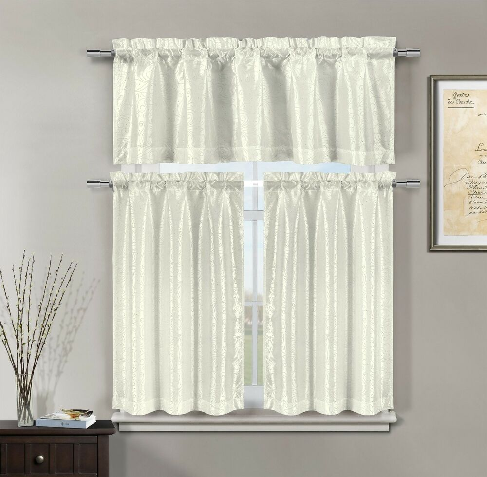 3 Pc White Kitchen Window Curtain Set Faux Silk Pearl