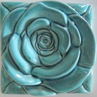The Turquoise Rose Tile - Home Decor Turquoise Wall Decor ...