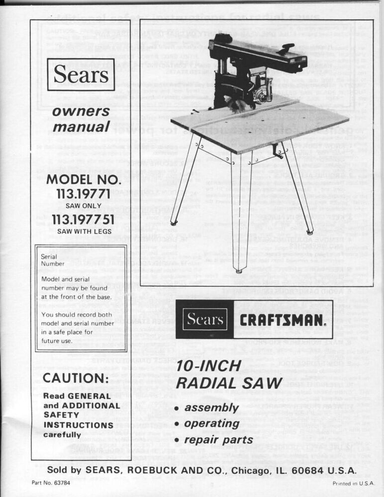 1979 Craftsman 113.19771 or 113.197751 10-inch Radial Arm
