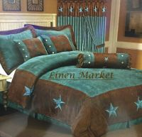 Embroidery Printed Turquoise Western Texas Star Comforter