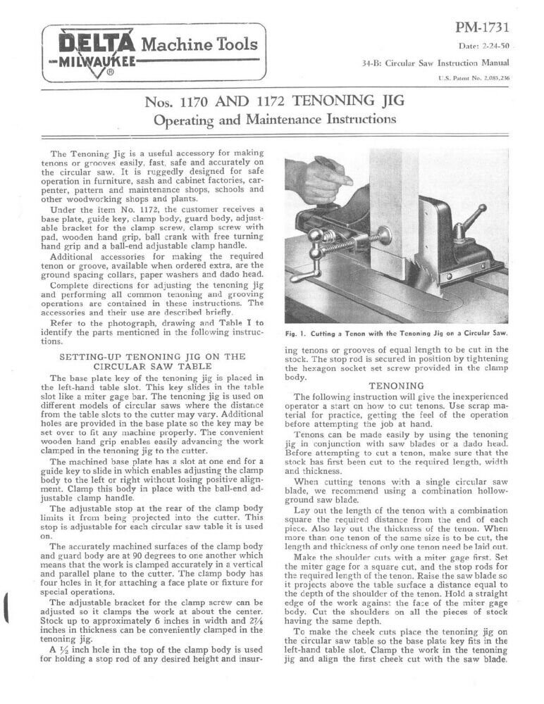 Delta Rockwell Nos. 1170 and 1172 Tenoning Jig