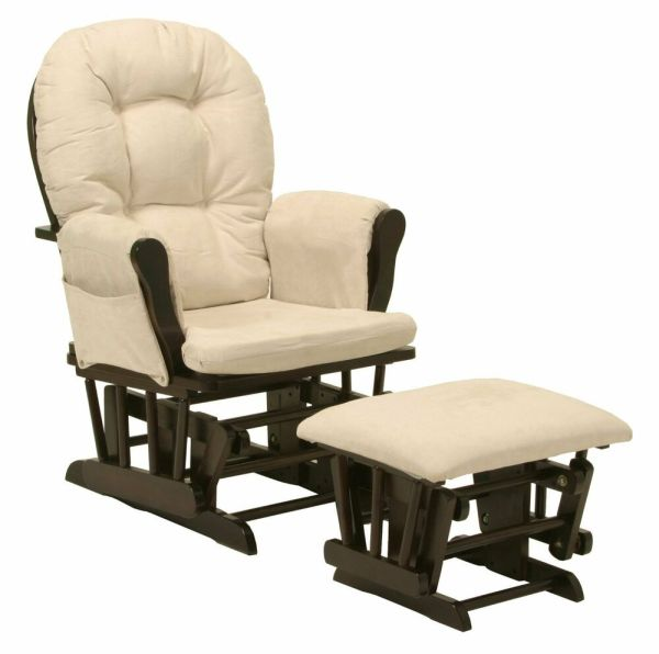 Baby Nursery Bowback Glider Rocker Rocking Chair Espresso Finish & With Ottoman