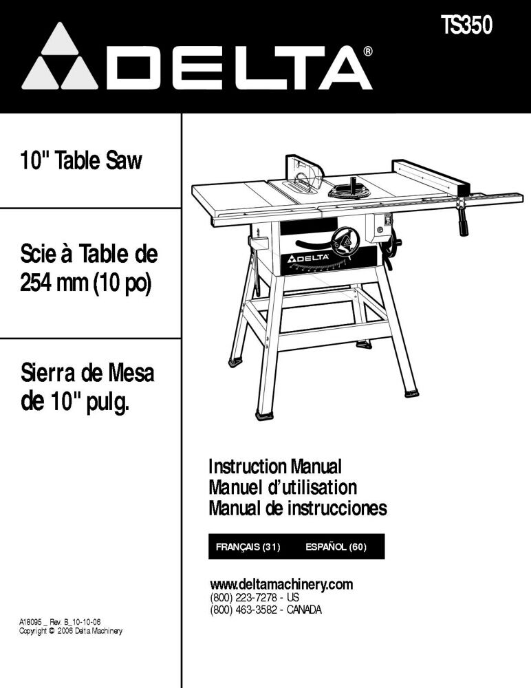 Delta Bench Saw Manual