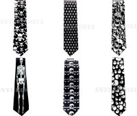 NEW BLACK SKULLS NECKTIE HALLOWEEN PARTY BONES SKELETON ...