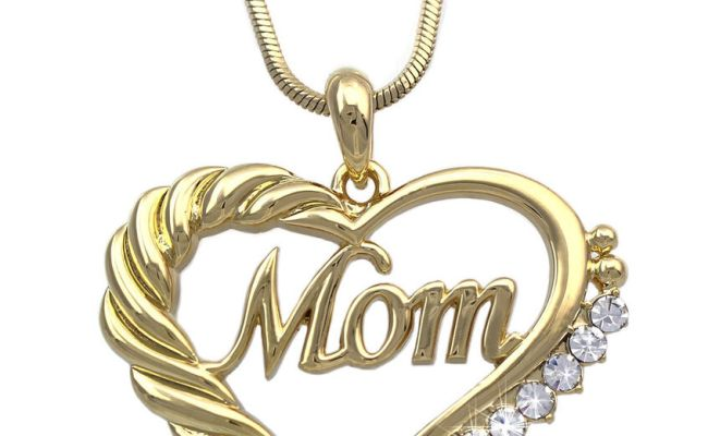 Mom Heart Clear Crystal Pendant Necklace Gift For Mom