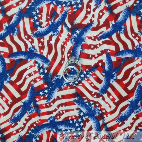 Blue and White American Flag Fabric