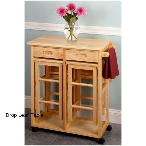 Drop Leaf Table Set Dining Kitchen 2 Stools Small Spaces