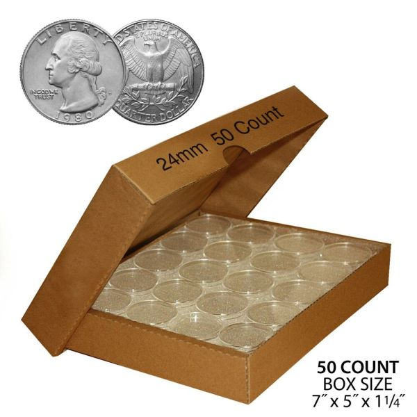 A24 Direct Fit Air-tight Coin Holder Capsules Quarters