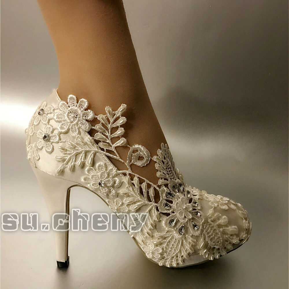 White pearl silk lace Wedding shoes Bridal flats low heel heels pumps size 510  eBay