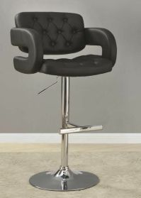 Black and Chrome Adjustable Height Bar Stool Chair by ...