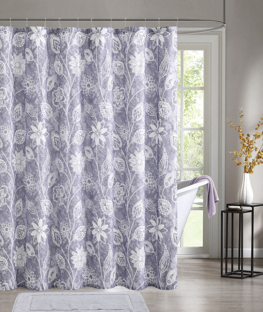 Purple Embossed Fabric Shower Curtain White Floral Design  eBay