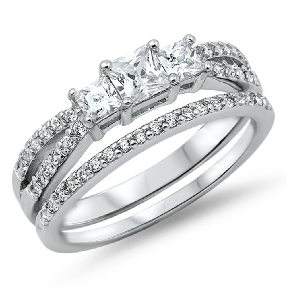 Sterling Silver 3 Stone Clear Princess Cut Simulated Diamond Wedding Ring Set  eBay