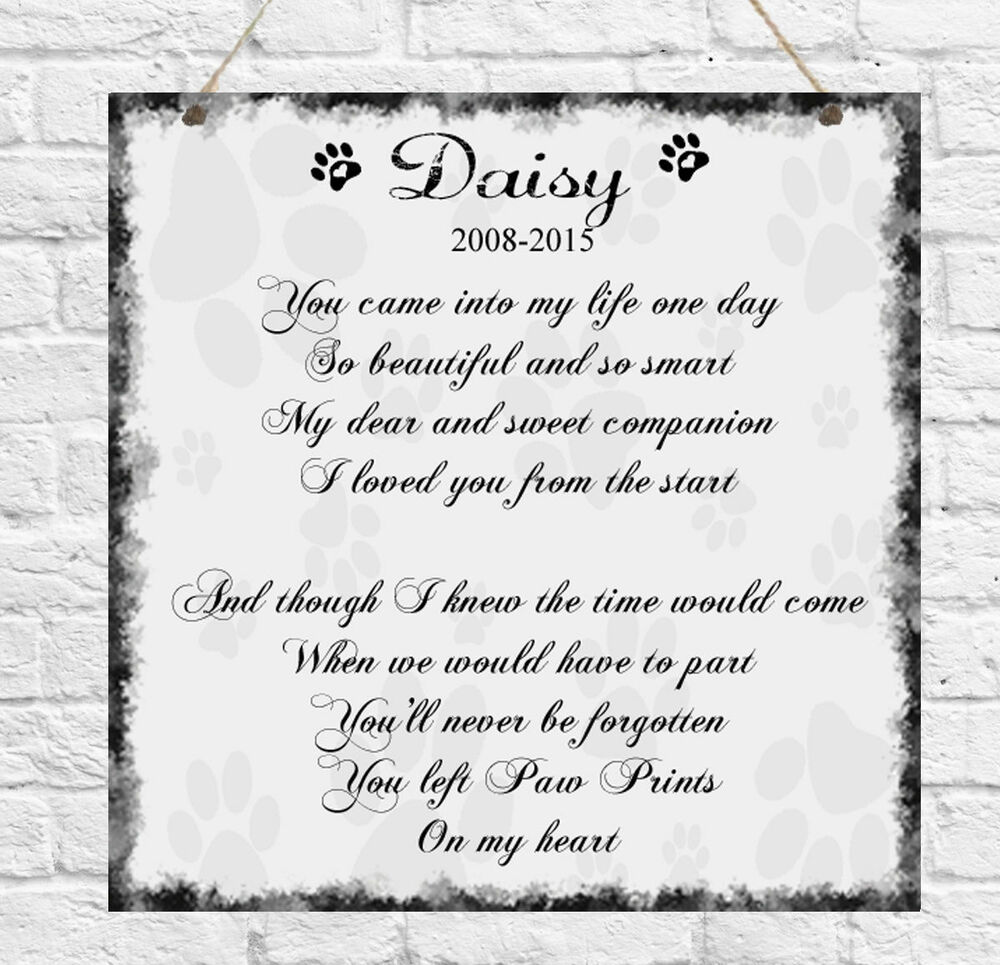 Personalised Pet Memorial Remembrance Pawprints Poem