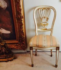 Antique Boudoir Side Chair European Louis XVI Style Cream