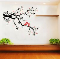 Black Tree & Red Bird Removable Vinyl Wall Decal Sticker ...
