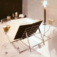 Adjustable Bath Rack Book Stand Bathtub Shelf Tray Glass ...