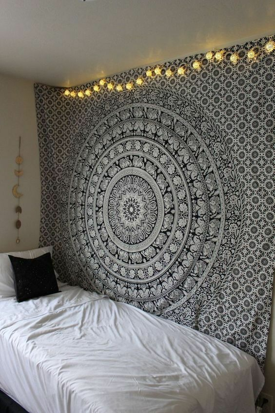 Black and White Mandala Tapestry