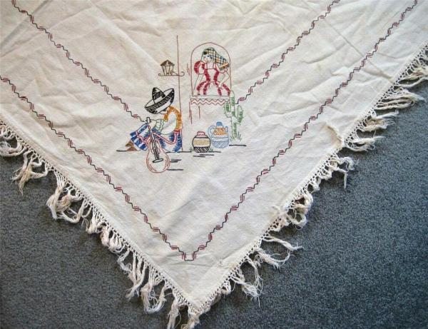 Vintage Embroidered Tablecloth Spanish Mexican Theme 40 x