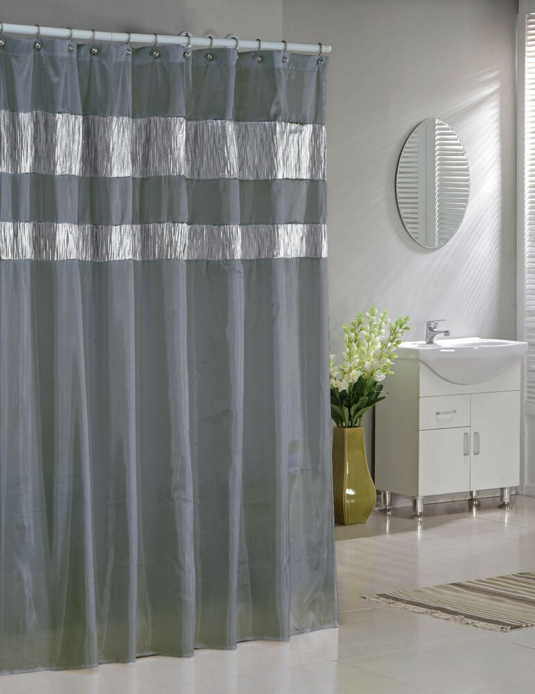 Silver Gray Faux Silk Fabric Shower Curtain Shimmering Metallic Accents  eBay