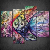 COLOURFUL FISH COLLAGE CASCADE CANVAS PRINT WALL ART ...