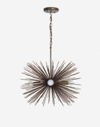 Mid century 5 Bulbs Antique Brass Sphere Urchin Chandelier ...