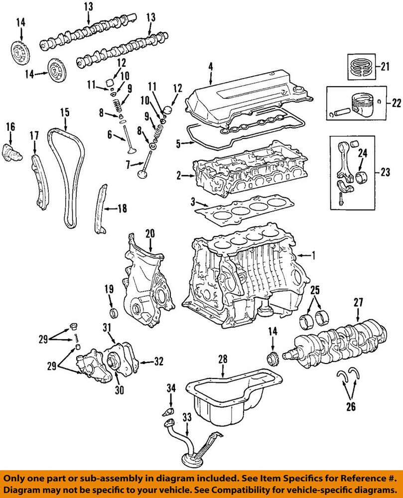 medium resolution of toyota oem 98 08 corolla engine connecting rod bearing 130412202402 98 corolla engine diagram