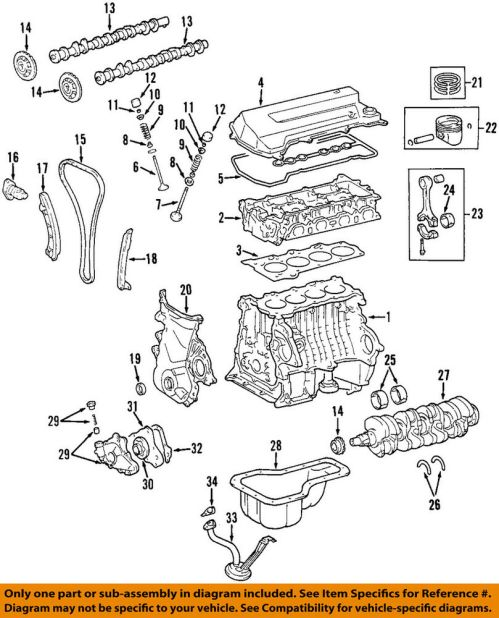 small resolution of toyota oem 98 08 corolla engine connecting rod bearing 130412202402 98 corolla engine diagram