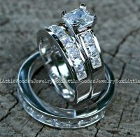 His and Hers 925 Sterling Silver 14k White Gold Engagement ...