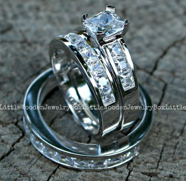 And 925 Sterling Silver 14k White Gold Engagement Wedding Ring Band Set