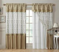 Double-Layer Window Curtain Drapery Panel: White Back ...