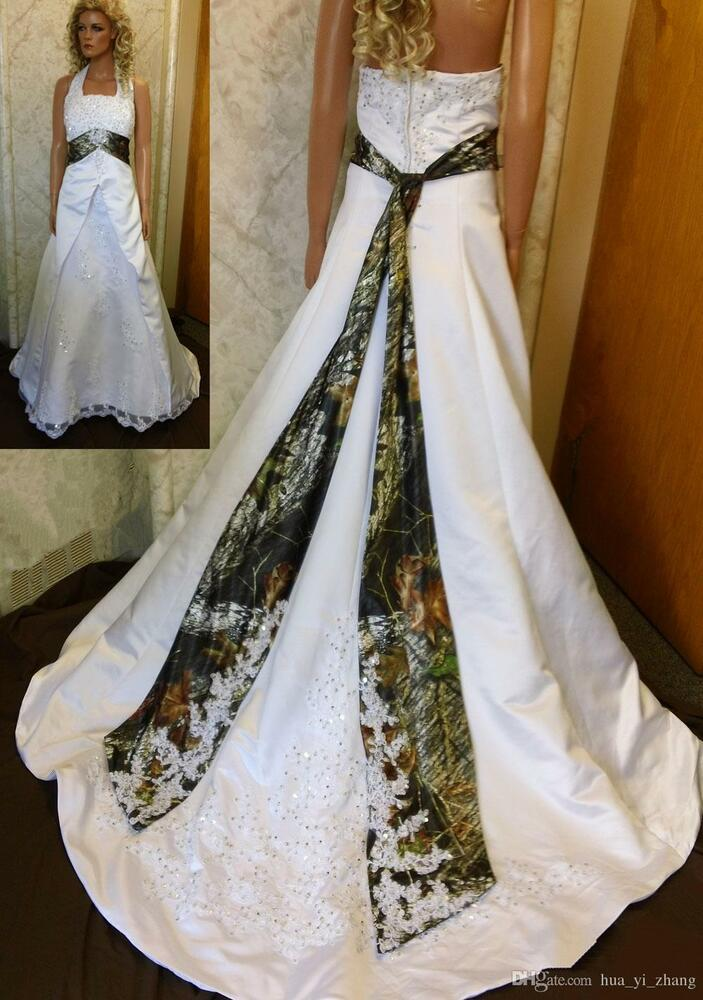 2017 Camo Ball Gown Wedding Dresses Camouflage Beaded